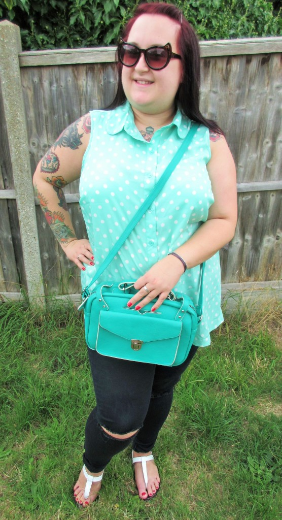 Mint Polka Dot Shirt Plus Size lessthan10pounds.com