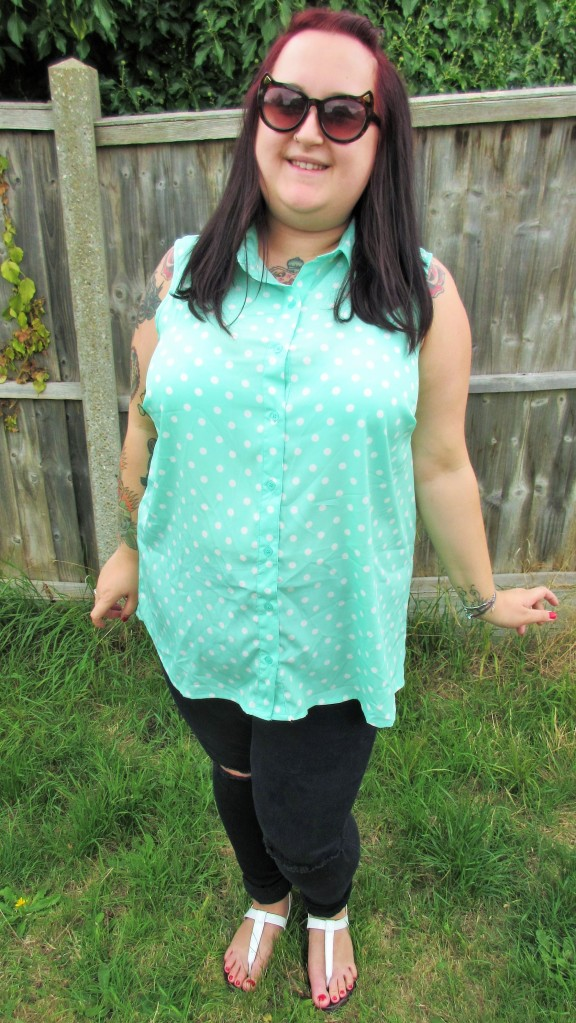 Mint polka dot sleeveless shirt plus size