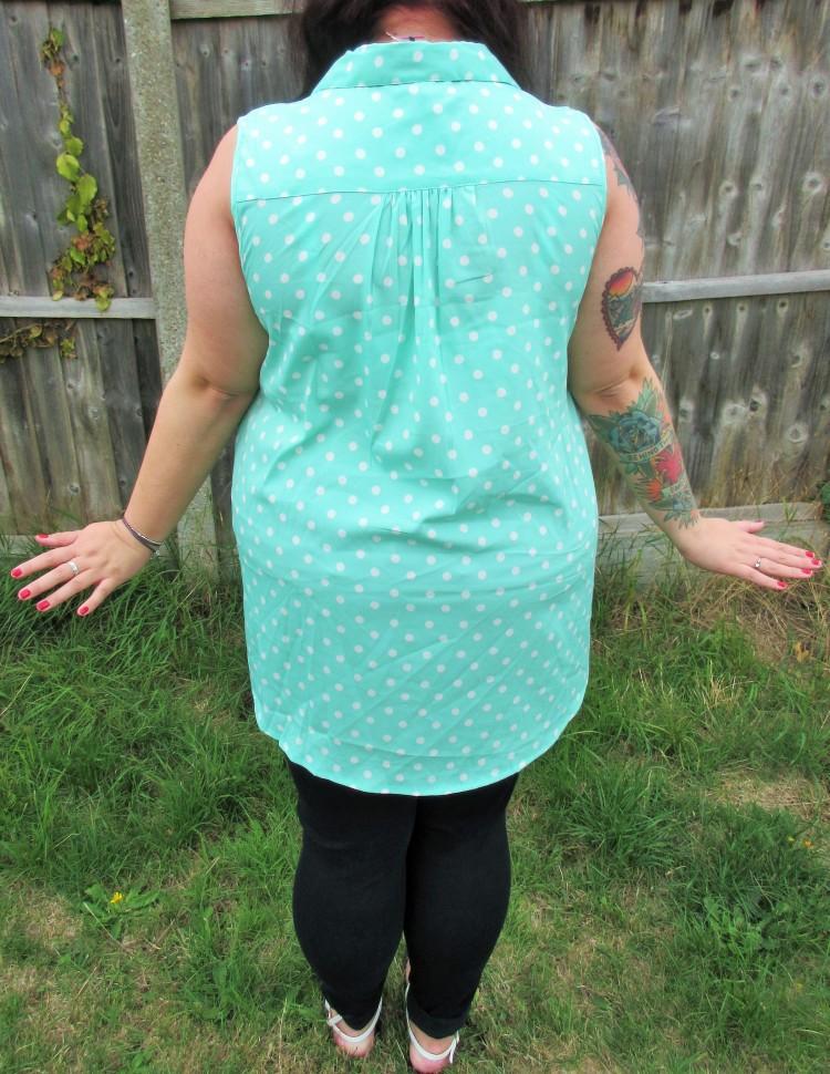 Mint polka dot sleeveless shirt plus size