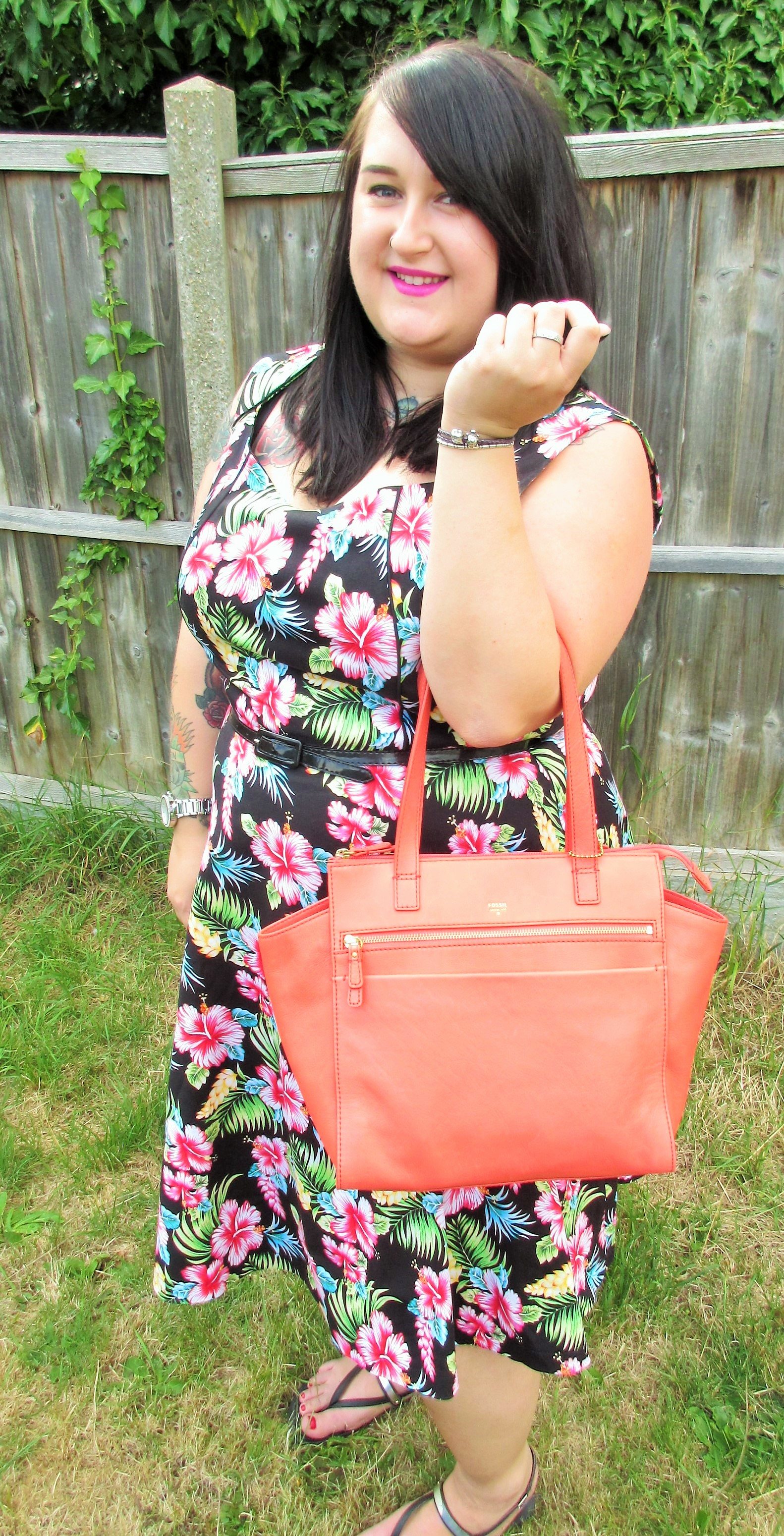 Lindy Bop Dress Tropical Print and Fossil coral bag