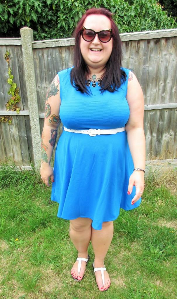 Blue skater dress plus size
