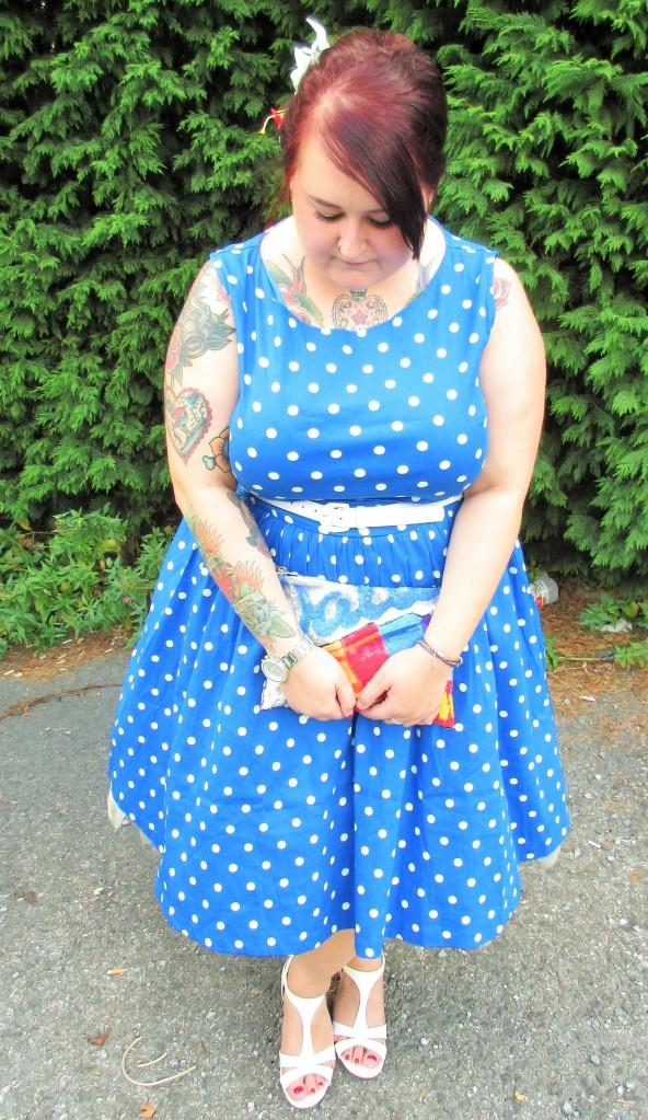 Plus Size Lindy Bop Audrey Dress Blue Polka Dot