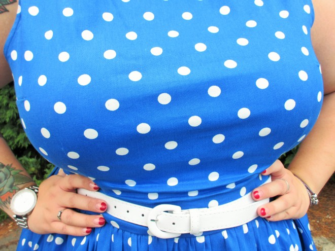 Plus Size Lindy Bop Audrey Dress Blue Polka Dot