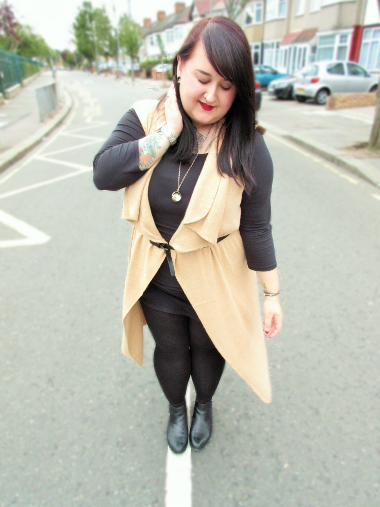 Plus size sleeveless camel cardigan all black outfit