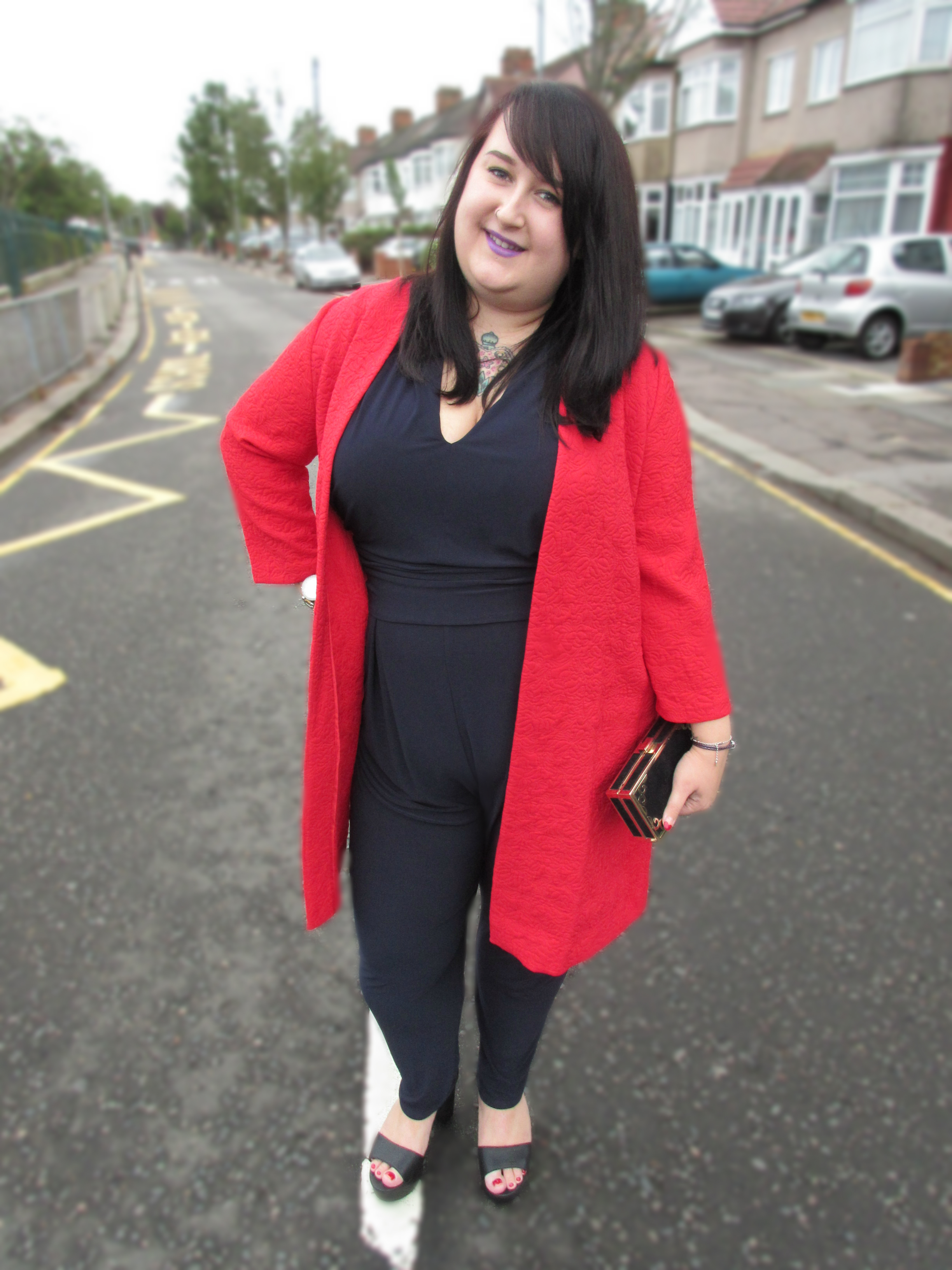 Plus Size Red Coatigan and Navy Jumpsuit Studio Eight