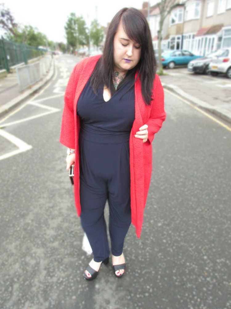 Plus Size Red Coatigan Navy Jumpsuit Studio Eight