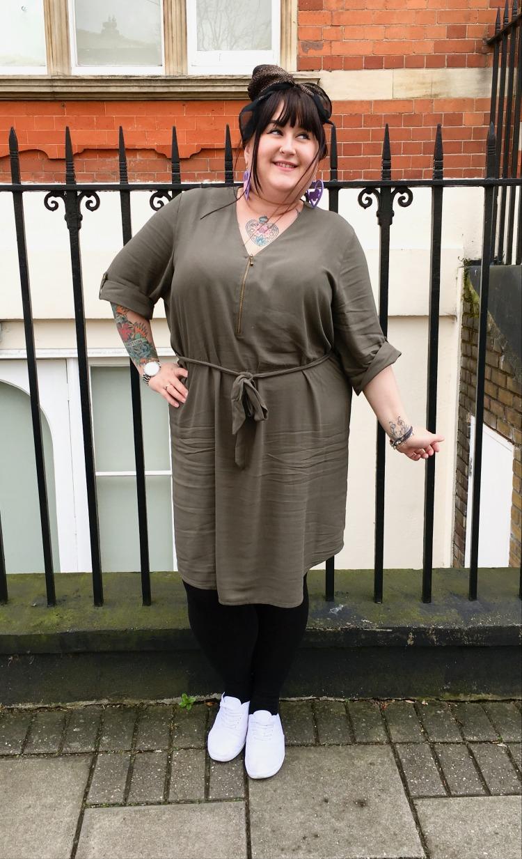 lottie-lamour-plus-size-clothing-evans-collection-khaki-tunic-dress-tie-waist-zip